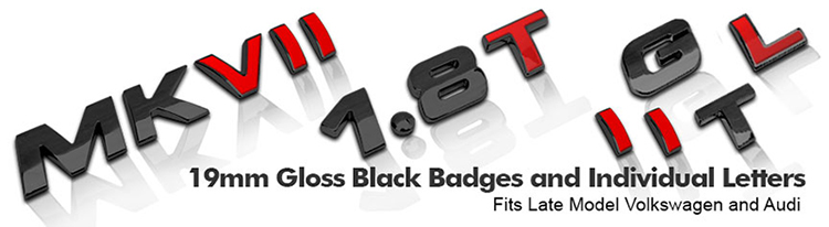 Gloss Black VW and AUDI Style Lettering Badges